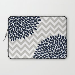 Chevron Floral Modern Navy and Grey Laptop Sleeve