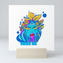 Psychedelic colourful hippie tripping on acid girl Mini Art Print
