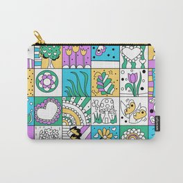 Inchie Doodle Design - Aqua Yellow - Spring Carry-All Pouch