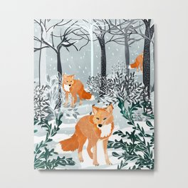 Fox Snow Walk Metal Print
