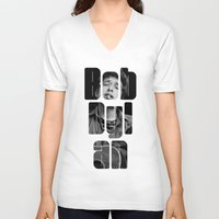 woodstock V-neck T-shirts featuring Bob Dylan Font Black And White by Fligo