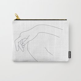 Hand on knee black and white illustration - Ana Carry-All Pouch