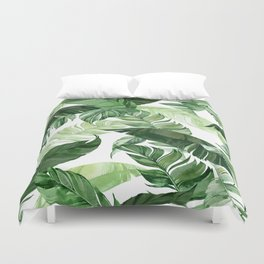 Green leaf watercolor pattern Duvet Cover