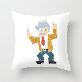 Cartoon crazy scientist. Throw Pillow
