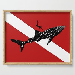 DIVER DOWN - whale shark dive Serving Tray