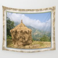 2001 Wall Tapestries featuring NEPALI HAYSTACK  by Alpine Seaside Landscapes
