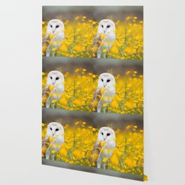Little Owlet in Flowers (Color) Wallpaper