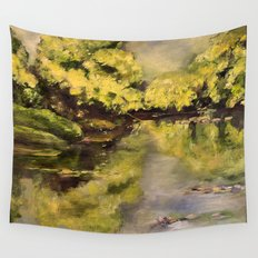 River Impressionism Landscape Painting Wall Tapestry