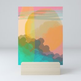 Shapes and Layers no.10 - Sun, Waves, Clouds, Sky abstract Mini Art Print