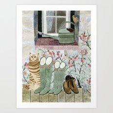 Autumn at grandparents garden Art Print
