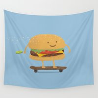 food Wall Tapestries featuring Fast Food by Terry Fan