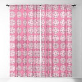 Mandala Pattern in Fuchsia Pink, Grey and White Sheer Curtain