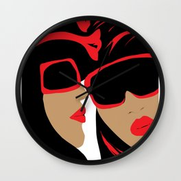 """Bold and Beautiful"" Paulette Lust's original, whimsical, colorful, contemporary, art.  Wall Clock"