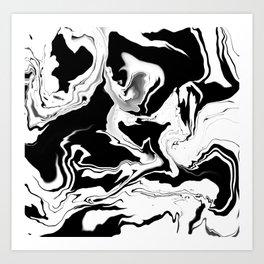 Black ABSTRACT WHITE Art Print