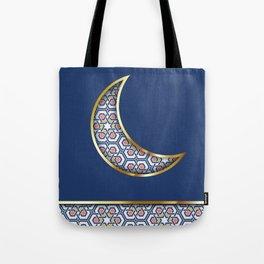Patterned crescent on dark blue Tote Bag