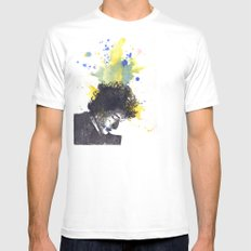 Portrait of Bob Dylan in Color Splash White LARGE Mens Fitted Tee
