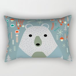 Winter pattern with baby bear Rectangular Pillow