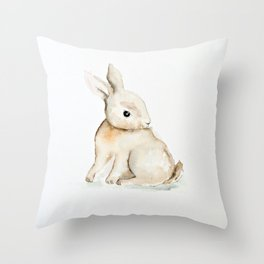 Easter bunny watercolor Throw Pillow