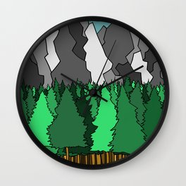 Forest Under the Gray Mounain Wall Clock