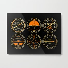 Aircraft Flight Instruments - 6 Pack Black Metal Print