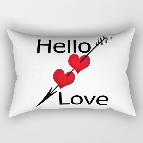 Hello love! White background . Rectangular Pillow