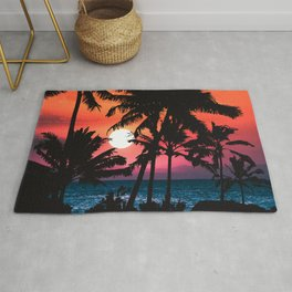 Summer Tropical Pink Orange Palm Trees Sunset Rug