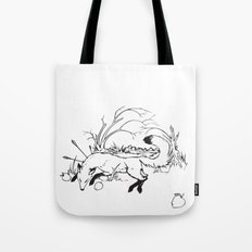 Dying Fox with Apples Tote Bag