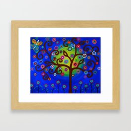 Whimsical Tree of Life Summer Dreams Painting Framed Art Print