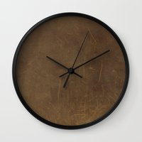 leather Wall Clocks featuring Leather by Patterns and Textures