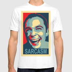 Sarcasm White Mens Fitted Tee MEDIUM