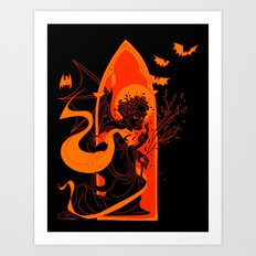 Beati Vespertilionem: Orange Art Print