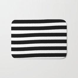 Brushy Stripes - Black Bath Mat