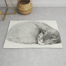 Rolled up lying sleeping cat by Jean Bernard (1775-1883) Rug