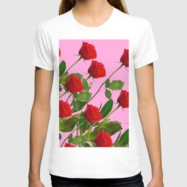 RED LONG STEMMED ROSES ON PINK T-shirt