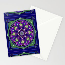 Boho Floral Crest Blue and Purple Stationery Cards