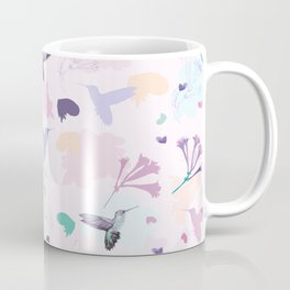 Hummingbird and flower pastel petal pattern Coffee Mug
