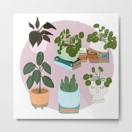 All the green plants | Houseplants art print Metal Print