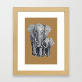 Elephant Parent and Calf ( clay) Framed Art Print