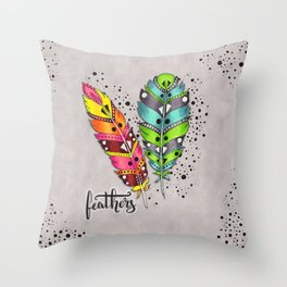 Two bright tribal feathers Throw Pillow
