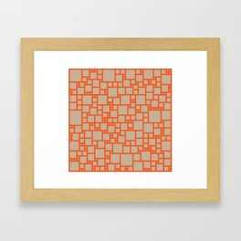 abstract cells pattern in orange and beige Framed Art Print