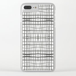 Watercolor Plaid, White Clear iPhone Case