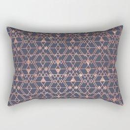 Rose Gold Glitter Blue Triangle Tribal Geometric Rectangular Pillow