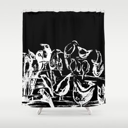 Birds black and white design, birds drawing, black and white illustration Shower Curtain
