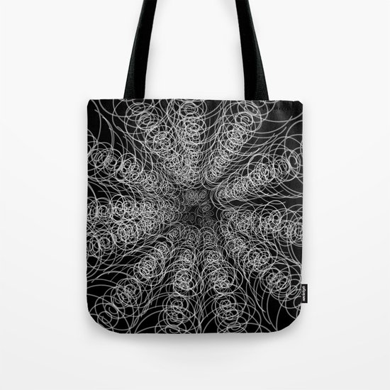 White Swirl Fractal on Black Tote Bag