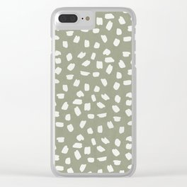 Simply Ink Splotch Lunar Gray on Green Tea Clear iPhone Case