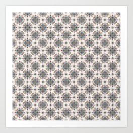 Brown and Blue Geometric - Squares and Circles Art Print