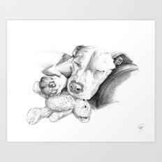 Let Sleeping Dogs Lie :: Grayscale Art Print
