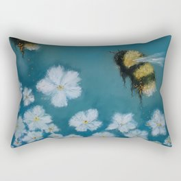 Whimsical Bumble Bee with Flowers Rectangular Pillow
