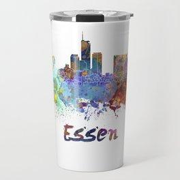 Essen skyline in watercolor Travel Mug