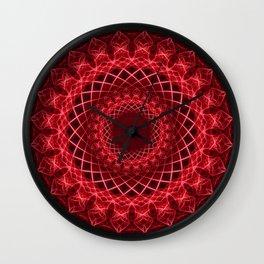Rich mandala in red tones Wall Clock